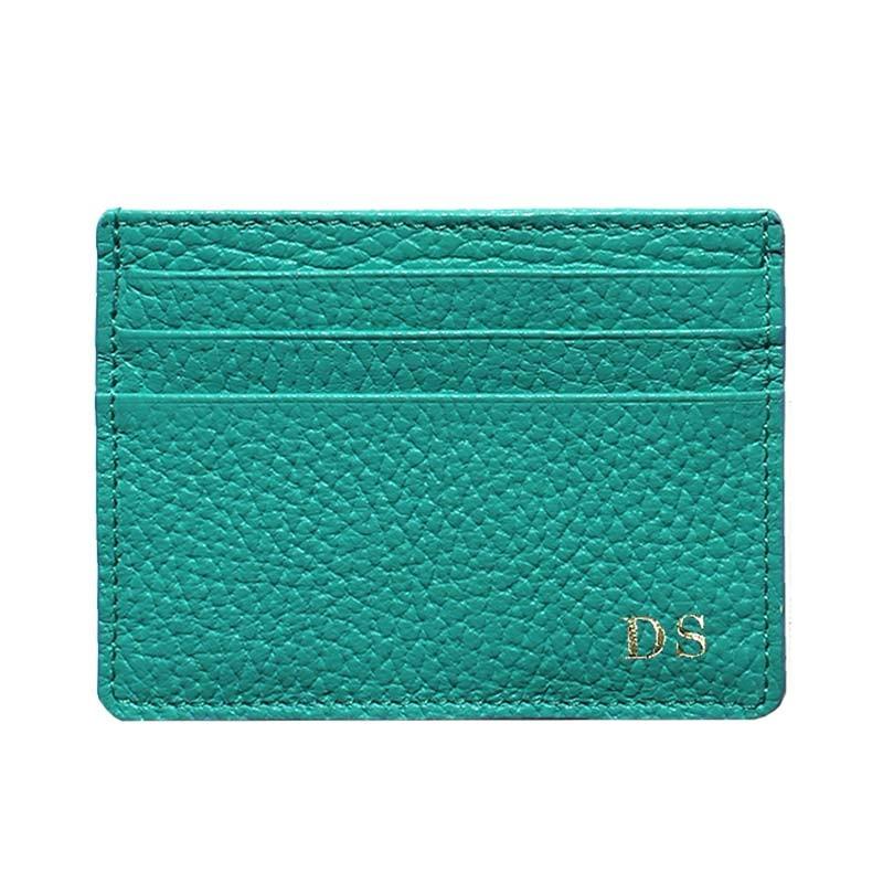 Porta carte pelle Smeraldo, porta carte di credito in pelle bovina colore verde - Conti Borbone - stampatello
