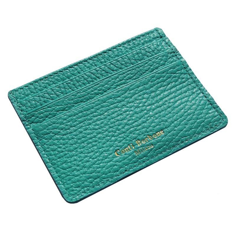 Emerald leather card holder - green cowhide card cases - Conti Borbone - brand