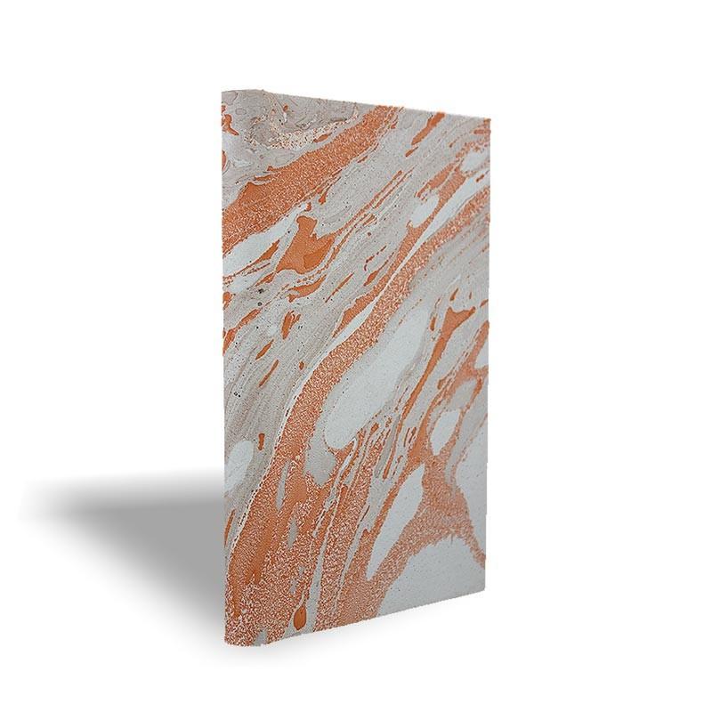 Quaderno in carta marmorizzata a mano arancione grigio marrone Francesca - Conti Borbone - made in Italy prospettiva