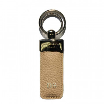 Sand leather keyring, in real beige cowhide - Conti Borbone - block letters