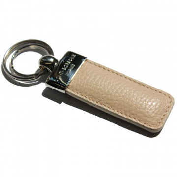 Sand leather keyring, in real beige cowhide - Conti Borbone - brand