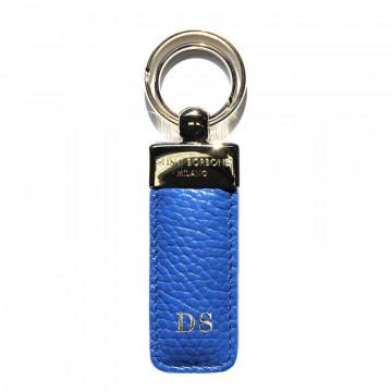 Portachiavi pelle Royal, in vera pelle bovina colore blu - Conti Borbone - stampatello