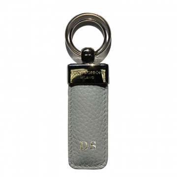 Pearl leather keyring, in real gray cowhide - Conti Borbone - block letters