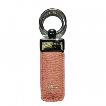 Mauve leather keyring, in real pink cowhide - Conti Borbone - block letters