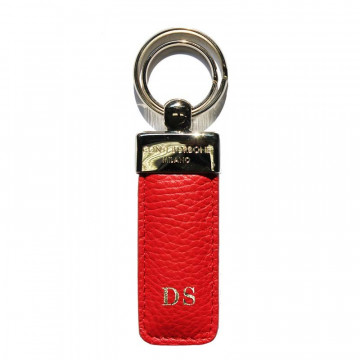 Lipstick leather keyring, in real red cowhide - Conti Borbone - block letters