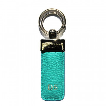 Emerald leather keyring, in real green cowhide - Conti Borbone - block letters