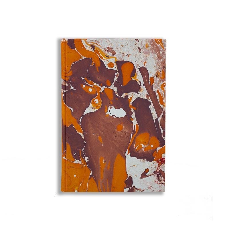 Quaderno in carta marmorizzata a mano arancione bianco marrone Merida - Conti Borbone - made in Italy