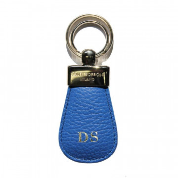 Royal leather keyring, in real blue cowhide - Conti Borbone - block letters