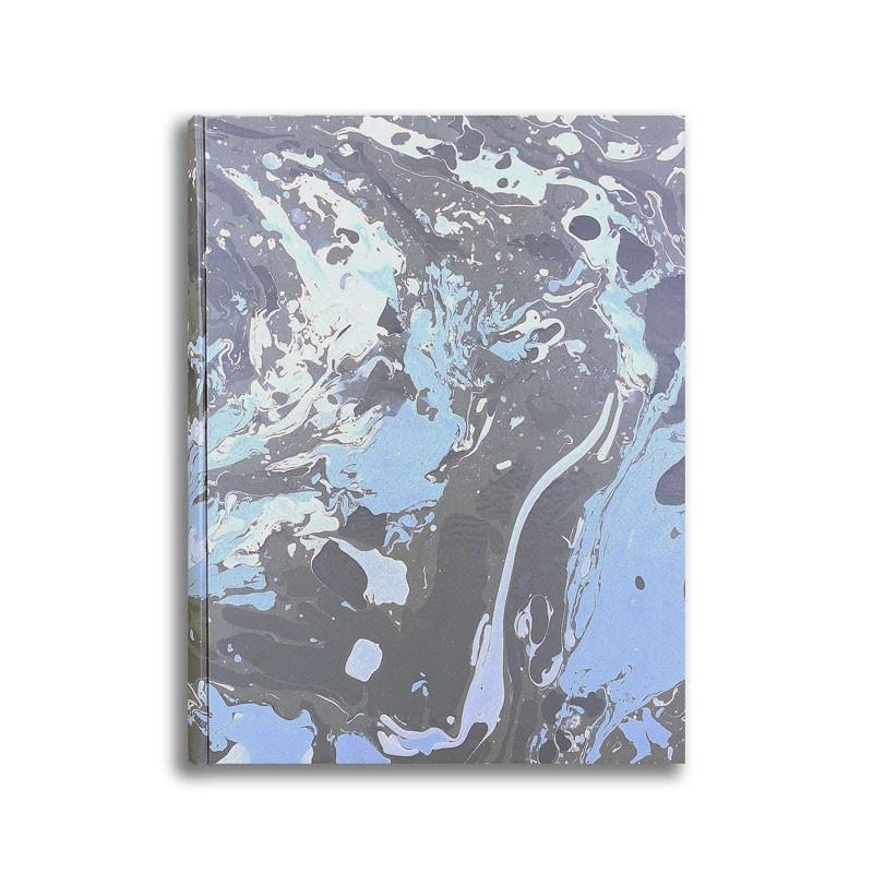 Photo album in marbled paper blue white Susan - Conti Borbone - standard front