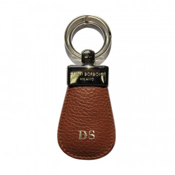 Tabacco leather keyring, in real brown cowhide - Conti Borbone - block letters