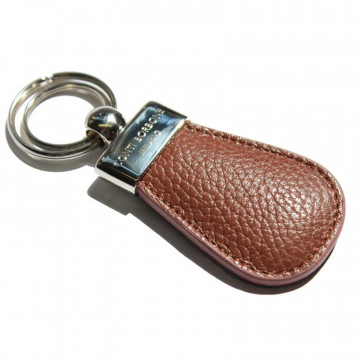 Tabacco leather keyring, in real brown cowhide - Conti Borbone - brand