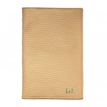 Sand leather passport cover, beige cowhide genuine leather document holder - Conti Borbone - block letters