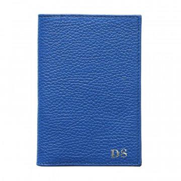 Porta passaporto pelle Royal, porta documenti in vera pelle bovina colore blu - Conti Borbone - stampatello