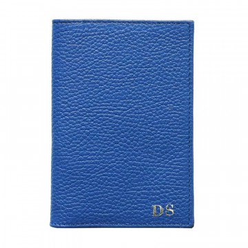 Royal leather passport cover, blue cowhide genuine leather document holder - Conti Borbone - block letters