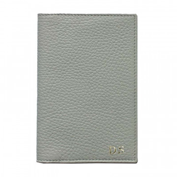 Perl leather passport cover, gray cowhide genuine leather document holder - Conti Borbone - block letters