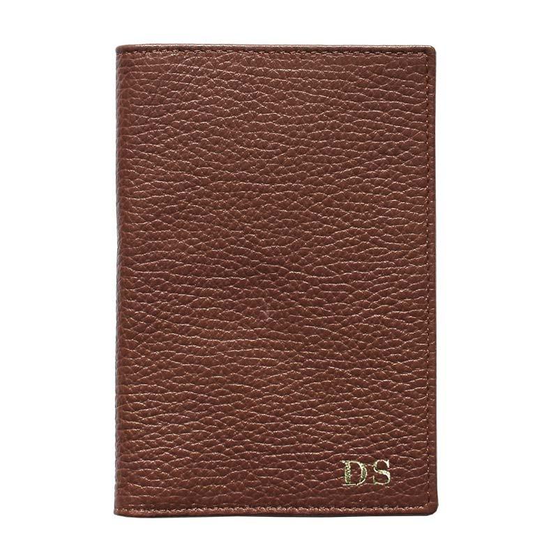 Porta passaporto pelle Tabacco, porta documenti in vera pelle bovina colore marrone - Conti Borbone - stampatello