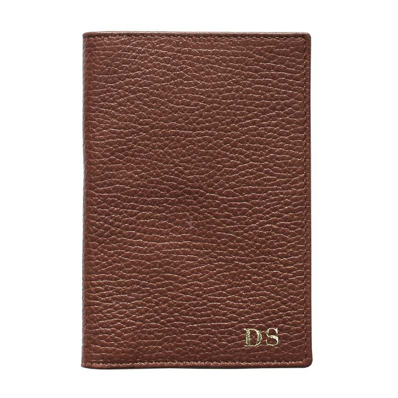 Tabacco leather passport cover, brown cowhide genuine leather document holder - Conti Borbone - block letters