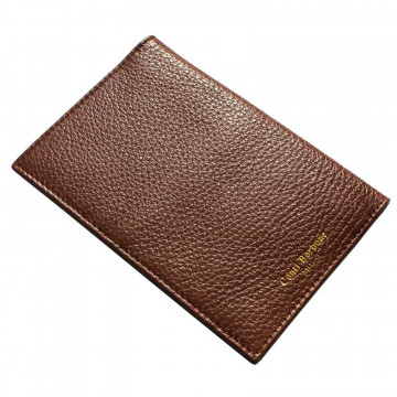 Tabacco leather passport cover, brown cowhide genuine leather document holder - Conti Borbone - brand