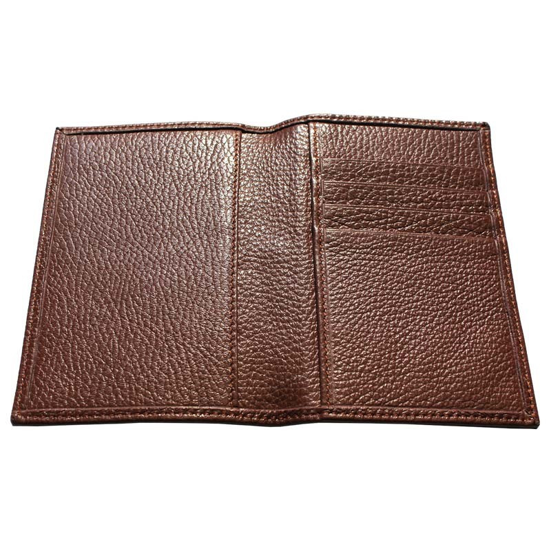 Tabacco leather passport cover, brown cowhide genuine leather document holder - Conti Borbone - details