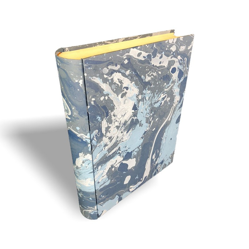 Photo album in marbled paper blue white Susan - Conti Borbone - standard spine