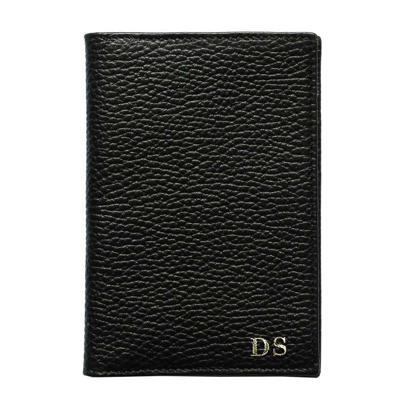 Porta passaporto pelle Corvino, porta documenti in vera pelle bovina colore nero - Conti Borbone - stampatello