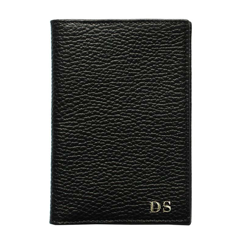 Raven leather passport cover, black cowhide genuine leather document holder - Conti Borbone - block letters