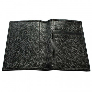 Raven leather passport cover, black cowhide genuine leather document holder - Conti Borbone - details
