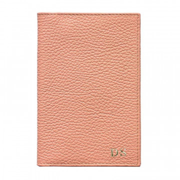 Mauve leather passport cover, pink cowhide genuine leather document holder - Conti Borbone - block letters