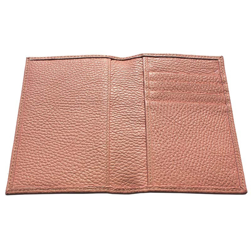 Mauve leather passport cover, pink cowhide genuine leather document holder - Conti Borbone - details