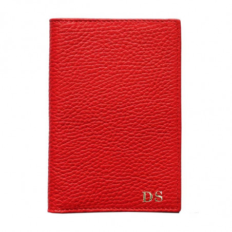 Lipstick leather passport cover, red cowhide genuine leather document holder - Conti Borbone - block letters