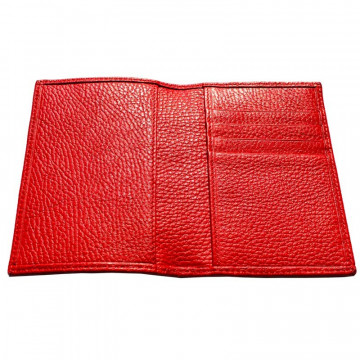 Lipstick leather passport cover, red cowhide genuine leather document holder - Conti Borbone - details
