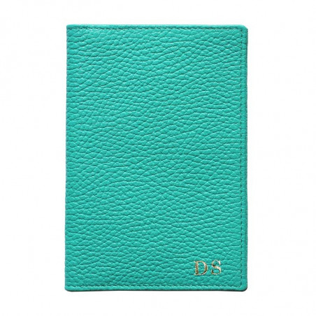 Emerald leather passport cover, green cowhide genuine leather document holder - Conti Borbone - block letters