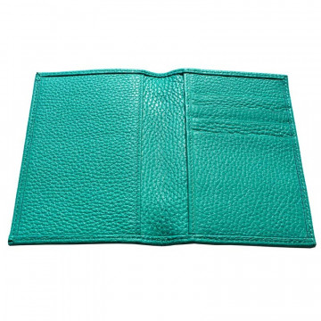 Emerald leather passport cover, green cowhide genuine leather document holder - Conti Borbone - details