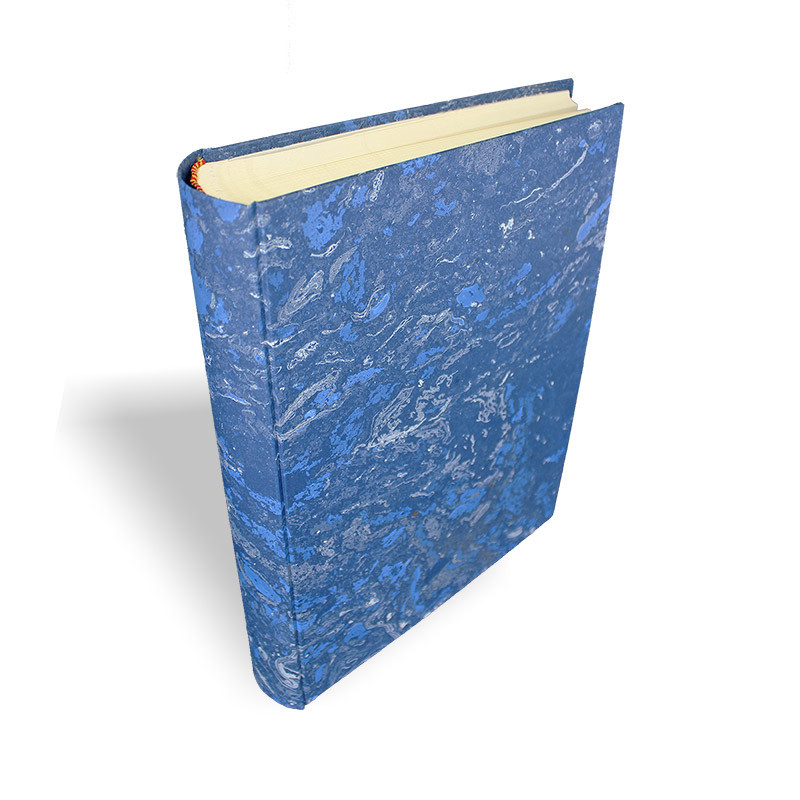 Photo album Joe in marbled paper blue and white - Conti Borbone - standard - spine