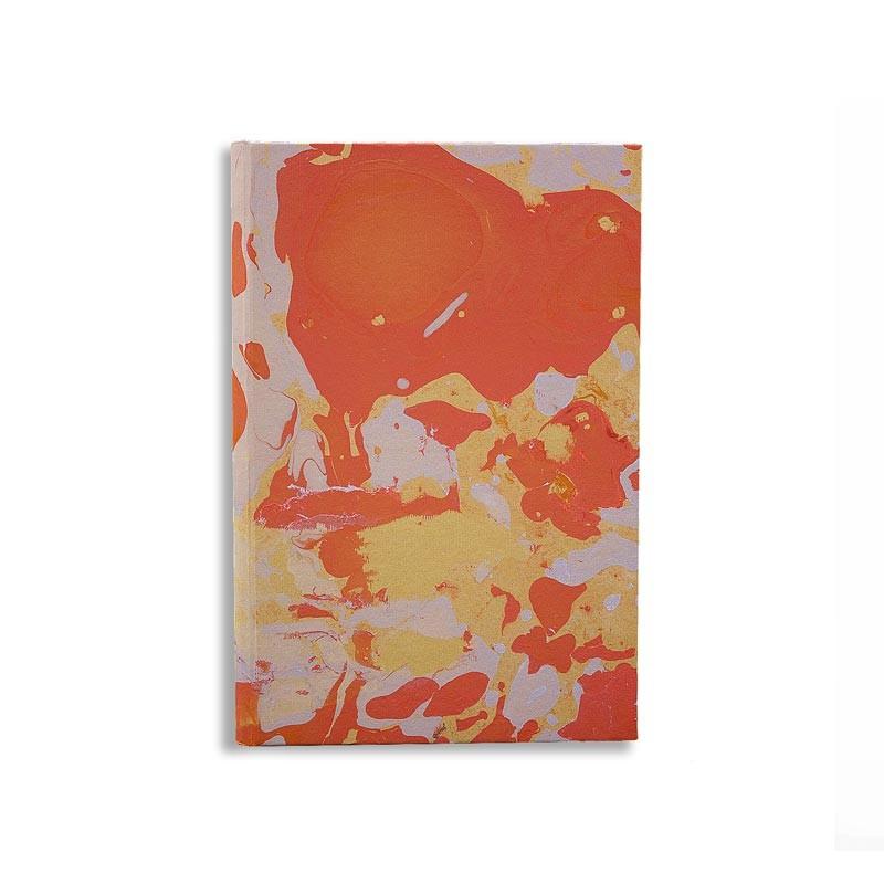 Quaderno in carta marmorizzata a mano arancione corallo grigio Elisa - Conti Borbone - made in Italy