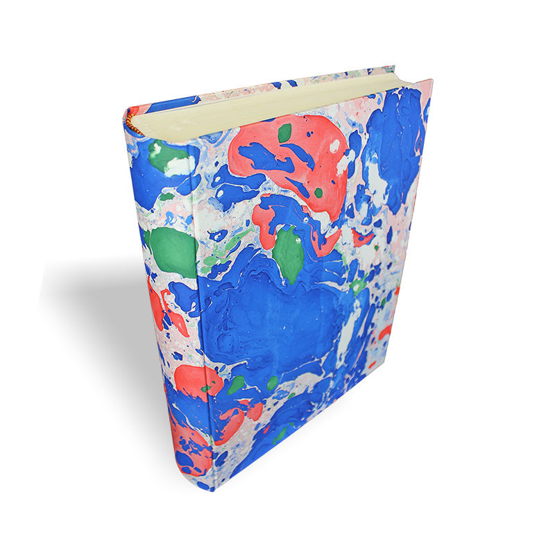 Photo album Giovy in marbled paper blue, green and red - Conti Borbone - standard - spine