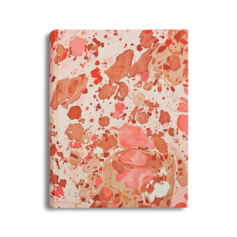 Photo album Samira in marbled paper beige, pink, brown and red - Conti Borbone - standard