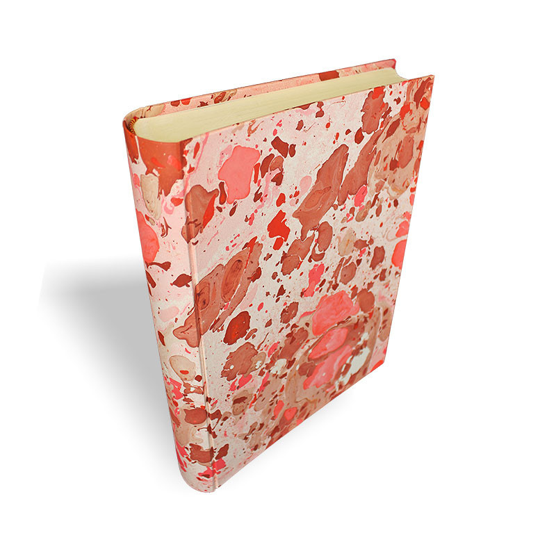 Photo album Samira in marbled paper beige, pink, brown and red - Conti Borbone - standard - spine