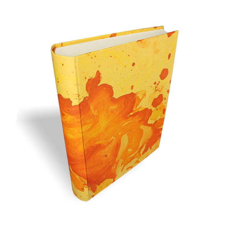 Photo album Silvia in marbled paper orange and yellow - Conti Borbone - standard - spine