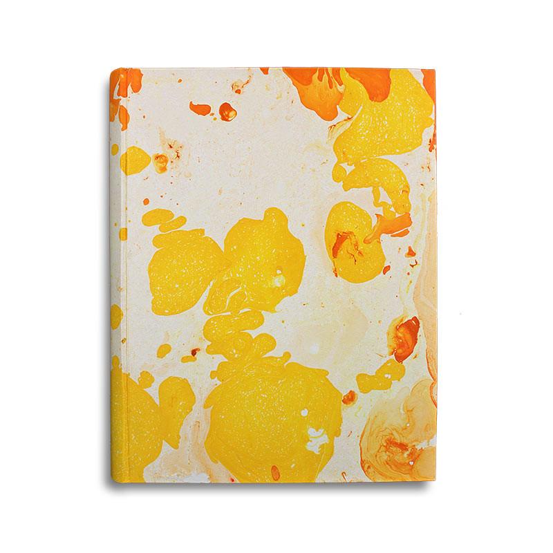 Photo album Ginevra in marbled paper orange, yellow and beige - Conti Borbone - standard
