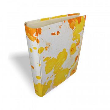 Photo album Ginevra in marbled paper orange, yellow and beige - Conti Borbone - standard - spine