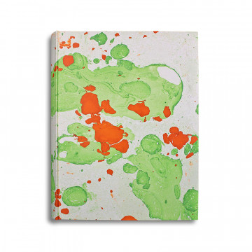 Photo album Michele in marbled paper orange, green and beige - Conti Borbone - standard