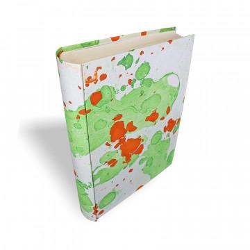 Photo album Michele in marbled paper orange, green and beige - Conti Borbone - standard - spine