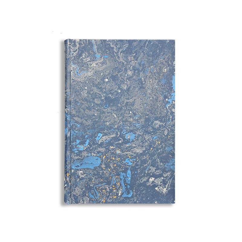 Marbled paper notebook  white, blue, gold Joe - Conti Borbone - Made in Italy