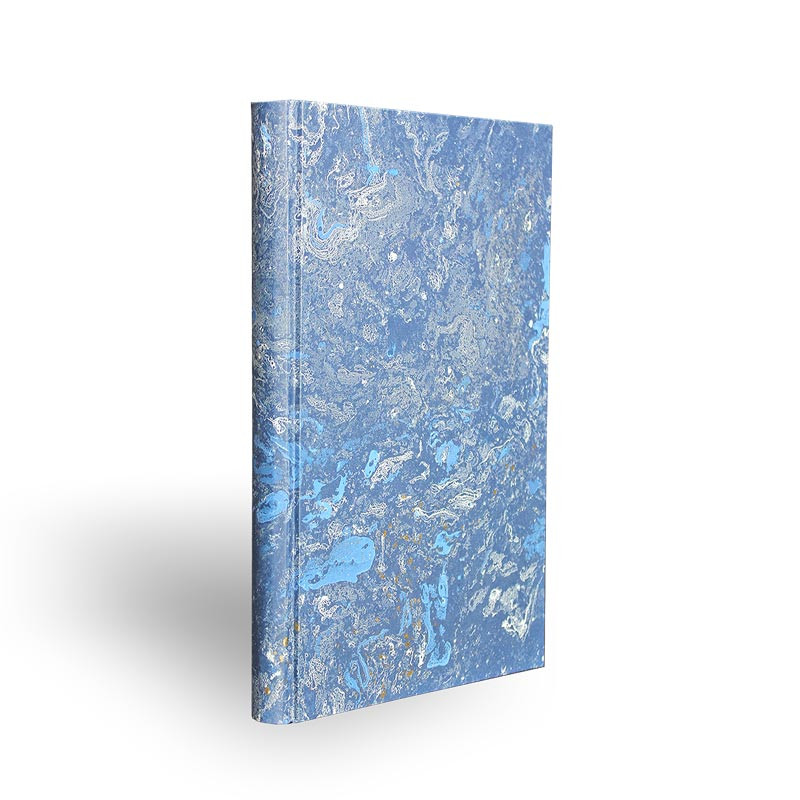 Marbled paper notebook  white, blue, gold Joe - Conti Borbone - Made in Italy - spine