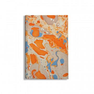 Quaderno in carta marmorizzata a mano bianco, arancione e blu Viviana - Conti Borbone - made in Italy