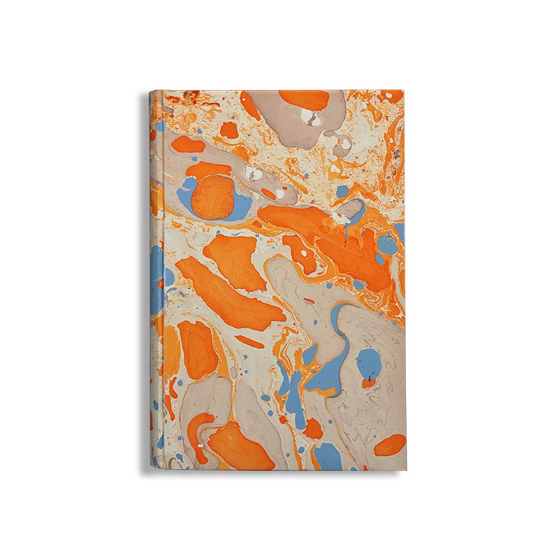 Marbled paper notebook  white, blue, orange Viviana - Conti Borbone - Made in Italy