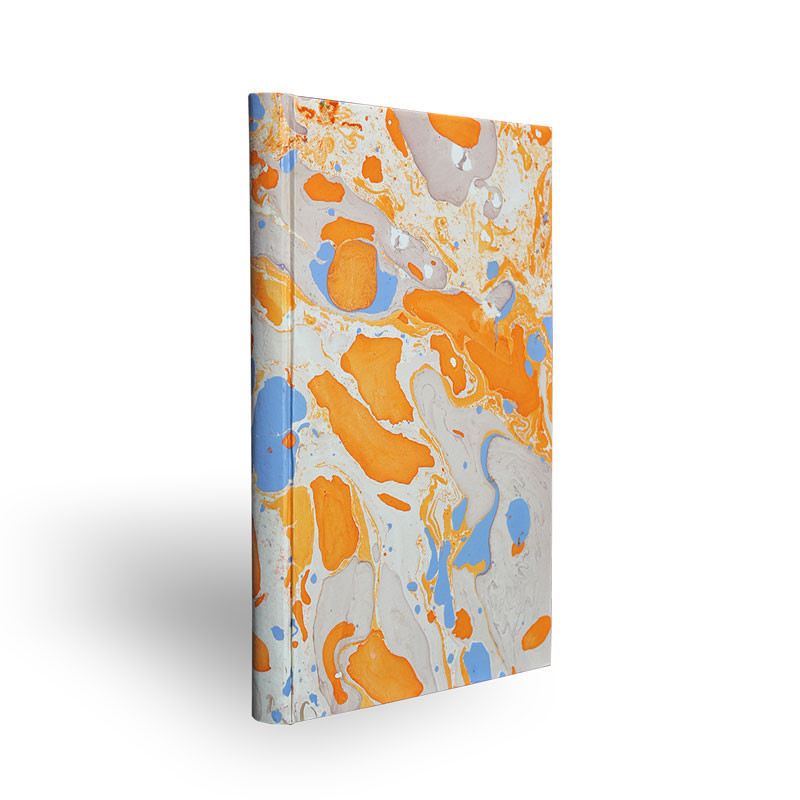 Marbled paper notebook  white, blue, orange Viviana - Conti Borbone - Made in Italy - spine