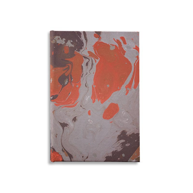 Marbled paper notebook  grey, coral, brown Marco - Conti Borbone - Made in Italy