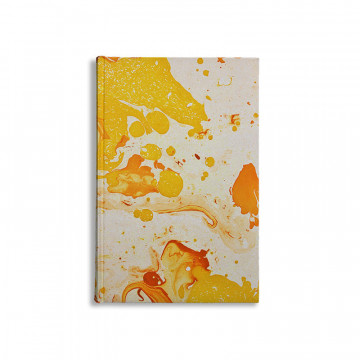 Marbled paper notebook  white, yellow, orange Ginevra - Conti Borbone - Made in Italy
